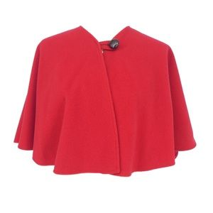 Vintage Coloratura Red Wool Capelet Shrug  (U12)